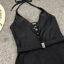Woman V-Neck One Piece Swimsuit Sexy Bathing Suit Lace Up Halter Swimwear Suit image 12