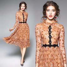 Spring ladies temperament stand lace stitching sweet lace fashion Slim dress - $79.00