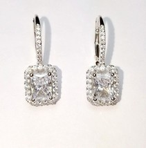 ZirconZ Custom-Sterling Silver Emerald Cut Signity CZ Halo Lever Dangle Earrings - $59.99