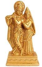 IndianArtVilla Handmade Beautiful Sculpture Brass Flute Lord Radhey Krishna Idol - $50.48