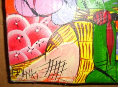 Signed Franki Haitian Creole HAITI African Original Canvas Art Painting