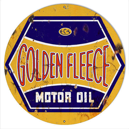 "Primary image for Golden Fleece Motor Oil Reproduction Gasoline Sign 24""x24"" Round"