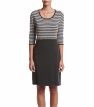 NWT CALVIN KLEIN GRAY STRIPED RAYON KNIT DRESS SIZE L $119 - $30.60