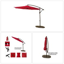 Outdoor Hanging Umbrella Patio Garden Pool 10 Feet Large Offset Cantilev... - $255.86 CAD