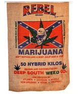 REBEL BRAND BURLAP BAG POT LEAF MARIJUANA BURLAP BAG pot leaf hippie sack - $14.95
