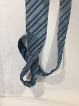 Alfani Men Light Blue Tie Silk Black Striped Size 58 Length 3 Inches width image 10