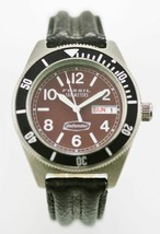 Fossil Defender Watch Mens Day Date Stainless Silver Leather Black 100m Brown - £57.77 GBP