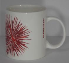 Starbucks Red Star Burst Coffee Cup Mug 2014 4in White 12 oz Fireworks Tea - $7.99