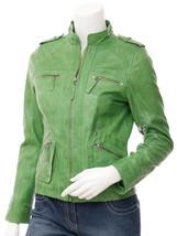 QASTAN Women's New Stylish Slim Fit Green Sheep Leather Jacket QWJ40D - $149.00+