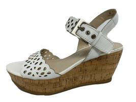 Franco Sarto Frolic wedge sandals platform white ankle buckle leather size US 8M - $26.28