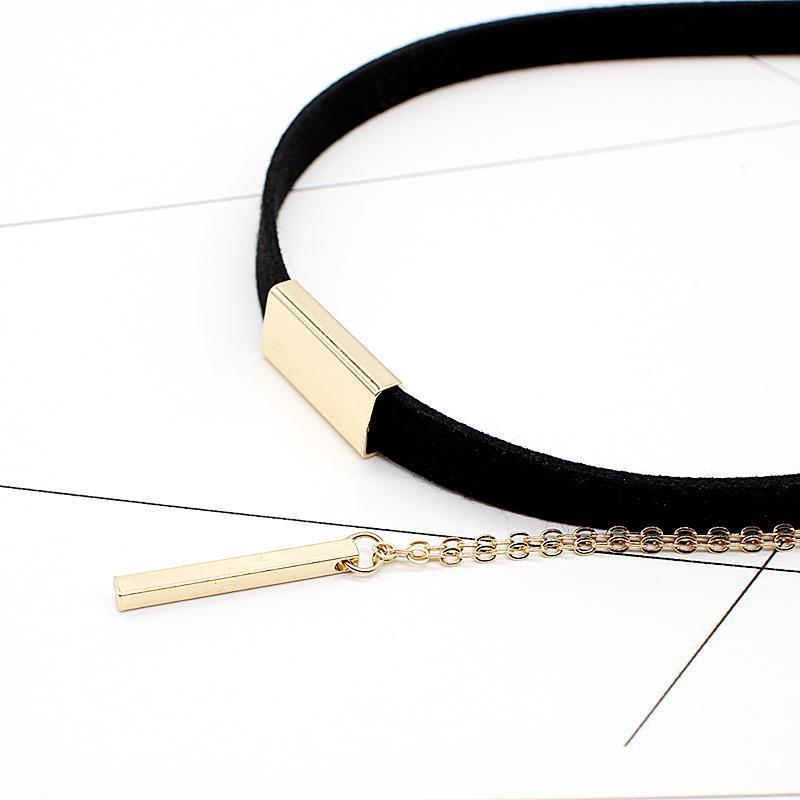 HMIXN Black Velvet Ladies Choker Necklace with Chain & Pendant image 5