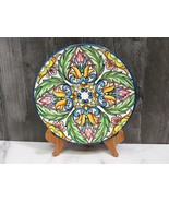 """Colorful Spanish Hand Painted Wall Plate 10.25"""" Green Yellow Purple Blue - $31.68"""