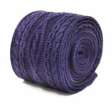 Frederick Thomas einfarbig violett gestrickt Krawatte mit Zopfmuster-Design