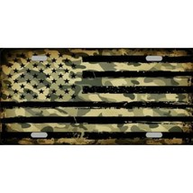 camo american flag metal license plate made in usa - $27.07