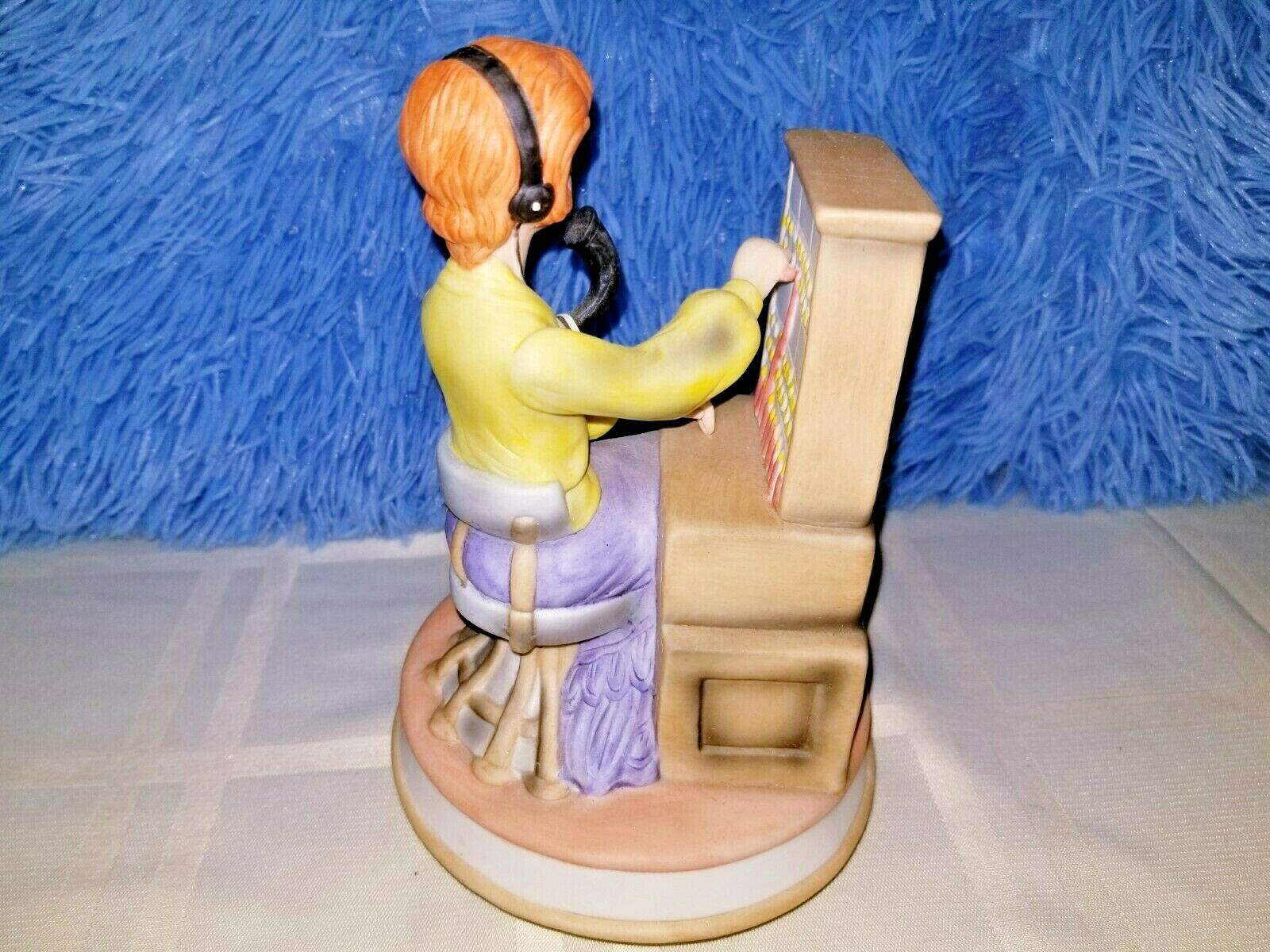 "Switchboard Operator Ceramic Carousel Music Box -""Try to Remember""   7.5""T x 5""W"