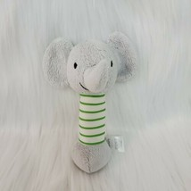 "6"" Carters Baby Hand Rattle Elephant Lovey Gray w Green Stripes Plush To... - $9.99"
