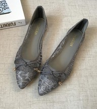 Low Heels Grey Lace Wedding Shoes,Women Bridal Ballet Flats,Grey Evening Shoes - $29.99