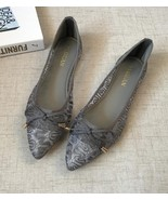 Low Heels Grey Lace Wedding Shoes,Women Bridal Ballet Flats,Grey Evening... - $39.47 CAD