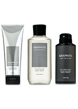 3 Pc. Bath & Body Works GRAPHITE Trio Body Wash Deodorizing Spray & Body... - $37.11