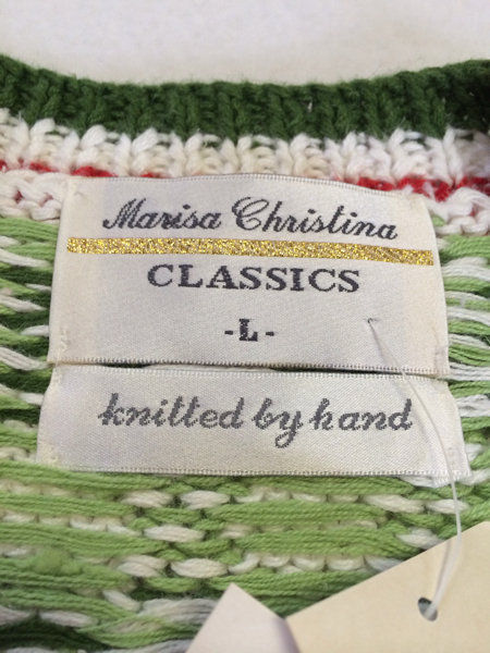 NWT Marisa Christina L Large Strawberry Patch Sweater Vest White Red Green image 7