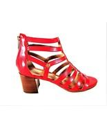 Tommy Hilfiger Red Gladiator Block Heel Open Toe Sandals Women's 8 M (SW10) - $50.39