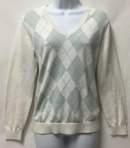 Tommy Hilfiger White Baby Blue Argyle Print Sweater Sz.L Long Sleeve V-Neck - $24.16
