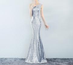 ROSE GOLD One Shoulder Sequin Dress Women Plus Size Mermaid Maxi Sequin Dresses image 5