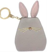 NWT Kate Spade Gray & Pink Leather Bunny Rabbit Keychain Fob Woru0121 - $45.95