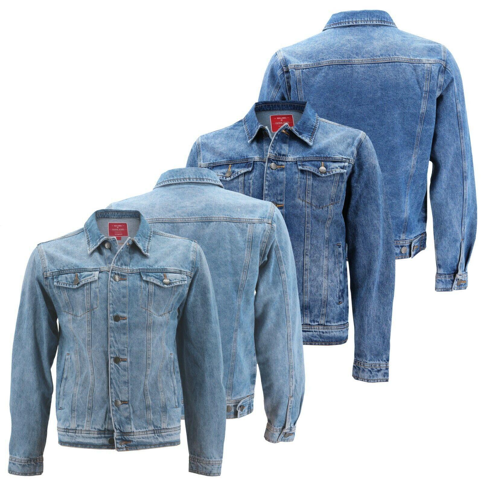 Red Label Men's Premium Casual Faded Denim Jean Button Up Cotton Slim Fit Jacket