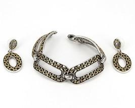 Brighton Chunky Two-Tone Filigree Oval Link Bracelet & Dangle Earrings Set - $26.99