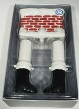 Dept 56 Ceramic Santa Boots in Chimney Salt Pepper Shaker Set Christmas IOB - $14.95
