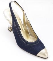 ESCADA Pump Blue Leather Slingback Gold Resin Heel Shoe 7B VINTAGE - $156.75