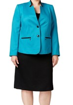 Tahari By Asl New Womens Blue Colorblock Skirt Suit  Plus   16W    $320 - $177.21