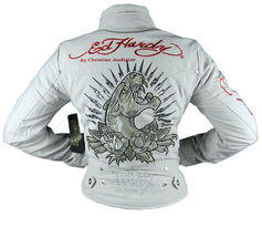 NEW ED HARDY CHRISTIAN AUDIGIER WOMEN'S PREMIUM JACKET PANTHER TAUPE SIZE SMALL image 4