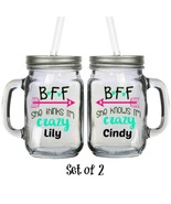 Personalized BFF Crazy Arrow Glass 16oz Mason Jar Mug with Lids & Straws... - $29.99