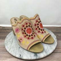 Sam Edelman Olive Beige Embroidered Leather Boho Mule Sandals Womens Size 9.5 - $49.95
