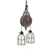 West Ninth Vintage Wood and Iron Barn Pulley Light | Grey - $204.17