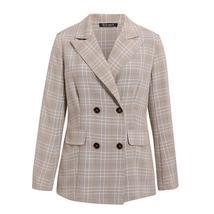 Women Famous Brand 2 Piece Double Breasted Plaid Blazer Shorts Suit image 5