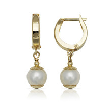 14K Yellow Gold Genuine Pearl Huggie Hoop Drop Dangle Earrings 9mm - $336.58