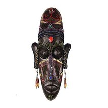 George Jimmy Medium-Sized Carved African Mask Wall Hanging Africa Decor Wall Art - $63.27