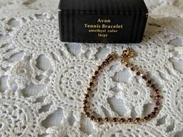 Avon Designer Signed Amethyst Tennis Bracelet - $7.75