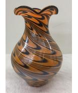 Orange and Black Swirl Encased Ruffled Glass Vase - $48.00