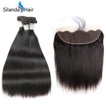 "Silanda Hair Straight 3 Bundles Human Hair Weave With 13""X4"" Lace Front Closure  - $109.90+"