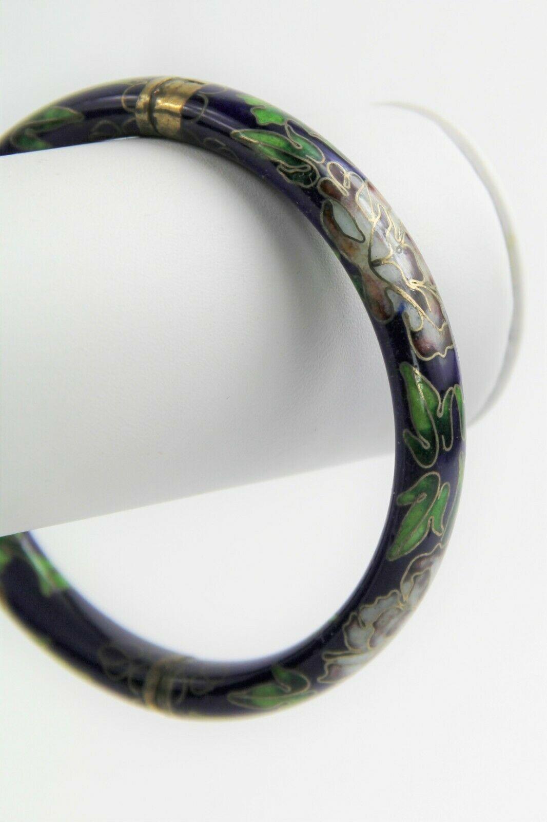 VINTAGE ESTATE Jewelry CHINESE CLOISONNE ENAMEL HINGED BANGLE BRACELET COBALT