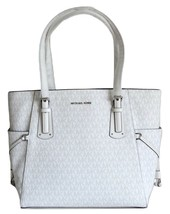 NWT MICHAEL KORS VOYAGER SIGNATURE EAST WEST TOTE BRIGHT WHITE image 2