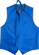 Men's Solid Color Adjustable Dress Vest & Neck Tie Set for Suit or Tuxedo image 13