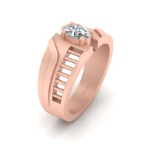 Solid 10k Rose Gold Engagement Ring For Men's Solitaire Diamond Eternity Band  - $969.99