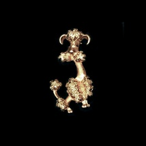 Vintage 1970's AVON Gold Tone Happy Poodle Dog Brooch / Pin - $14.99