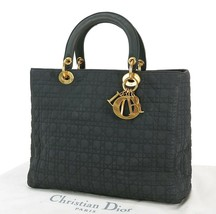 Auth CHRISTIAN DIOR Black Quilted Nylon Lady Dior Hand Bag Purse Sticky #34587 - $296.10