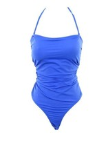 J Crew Factory Strapless One-Piece Swimsuit Bathing Suit B9711 Medium Blue - $27.59